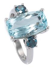 Sale 8937 - Lot 365 - AN AQUAMARINE AND BLUE DIAMOND RING; centring an approx. 4.50ct modified radiant cut aquamarine adjacent to 2 round brilliant cut tr...