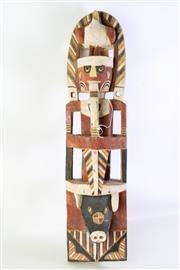 Sale 8940 - Lot 93 - A Carved and Hand Painted Cultural Totem with Pig Face Base and Male Mid Section and Bird to Top (Damage to Bird) (H 75cm)