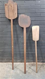 Sale 9039 - Lot 1026 - Set of 3 Vintage Timber Whey Paddles (H: 173cm longest)