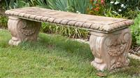Sale 9080H - Lot 2 - A pair of concrete benches over scrolled supports, Height 44cm x Width 41cm x Length 128cm