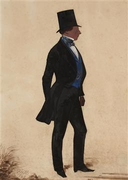 Sale 9099A - Lot 5092 - Frederick Frith (1819 - 1871) - Silhouette of a Gentleman, 1849 25.5 x 18 cm (frame: 42 x 34 x 3 cm)
