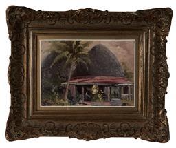 Sale 9113 - Lot 2010 - Allan Waite (1924 - 2010) Tusitala Hotel, Apia, Samoa oil on board 14 x 20 cm (frame: 29 x 34 x 5 cm) signed lower left