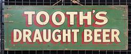 Sale 9134 - Lot 1053 - Vintage hand painted Tooths Draught Beer sign on board (h:16 x w:43.5cm)