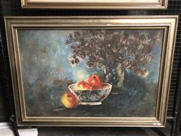 Sale 9147 - Lot 2034 - T. Garcia Still Life with Apples & Flowers, 1965, oil on canvas frame: 76 x 106 cm, signed lower right