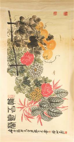 Sale 9153 - Lot 57 - A cricket and floral themed Chinese scroll ( 150cm x 66cm)