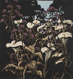 Sale 9170A - Lot 5001 - DAVID PRESTON (1948 - ) Lillies & Lantana, 1987 hand-coloured woodcut ed. AP 4/5 74.5 x 69 cm (frame: 126 x 101 x 4 cm) signed lower...
