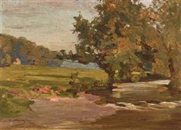 Sale 9212A - Lot 5052 - MAUD HOGARTH CLAY Country Scene with River, 1912 oil on panel 24.5 x 34.5 cm (frame: 39 x 49 x 2 cm) signed and dated lower left