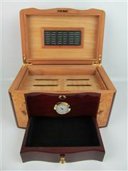 Sale 8423 - Lot 643 - Cigar Humidor in Rosewood & Birds-Eye Maple, with lift lid above hygrometer and drawer