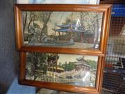 Sale 8441T - Lot 2102 - Pair of Early C20 Japanese Tapestries of Temple Scenes