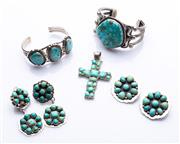 Sale 8550F - Lot 25 - A small quantity of silver and turquoise jewellery including cuffs, brooches, crucifix and Ray Bennet earrings, larger cuff D 6.5cm.