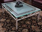 Sale 8782A - Lot 108 - Large coffee table with heavy glass rectangular top (20mm glass) with etched detail over white painted metal base with hooded apron....