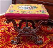 Sale 8804A - Lot 161 - A probably rosewood X-frame stool with woven tapestry seat depicting a central medallion scene of lady and gentleman bordered by flo...
