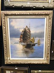 Sale 8861 - Lot 2036 - Japanese School - Sail Boatacrylic , 93 x 70cm (frame), signed