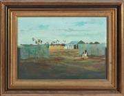 Sale 8976H - Lot 82 - Ray Crooke, An Islander landscape with figure, oil on board. 24x35cm