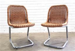 Sale 9117 - Lot 1026 - Pair of Dirk Van Sliedregt chrome frame chairs for Rohe Noordwolde (h:83 x w:43 x d:45cm)