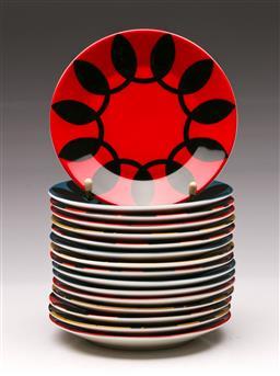 Sale 9131 - Lot 16 - A set of 16 Royal Doulton child  Sharlene Mullen Dotti side plates (Dia 16cm)