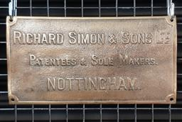 Sale 9134 - Lot 1054 - Vintage brass Sole Makers sign (h:13 x w:24cm)