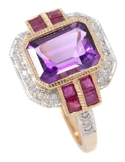 Sale 9160 - Lot 379 - A LATE DECO STYLE AMETHYST RUBY AND DIAMOND RING; set in 9ct gold with an emerald cut amethyst to round brilliant cut diamond surrou...