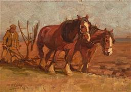 Sale 9212A - Lot 5053 - MAUD HOGARTH CLAY Ploughing Field, 1911 oil on panel 14.5 x 20.5 cm (frame: 30 x 36 x 4 cm) signed and dated lower left
