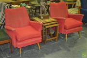 Sale 8287 - Lot 1008 - Pair of Upholstered 1950s Armchairs