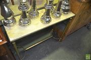 Sale 8331 - Lot 1043 - Stretcher Base Hall Table w Alabaster Top