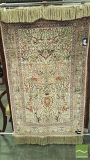 Sale 8375 - Lot 1064 - Persian Pure Silk Qum Centrepiece (153 x 90cm) (certificate in office)