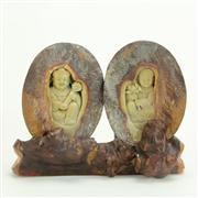 Sale 8393B - Lot 30 - Thunder Egg 3 Piece Carved Set
