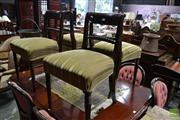 Sale 8460 - Lot 1082 - Set of Four Regency Mahogany Chairs, with rope twist rails & striped green velvet seats