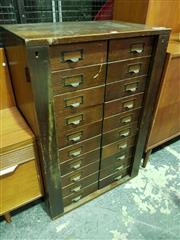 Sale 8661 - Lot 1029 - Vintage Timber Archive Cabinet (H: 95 W: 64 D: 41cm)
