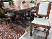 Sale 8769 - Lot 1078 - Art Deco Seven Piece Dining Setting incl. Stretcher Base Table & Six Chairs