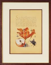 Sale 8838A - Lot 5163 - Artist Unknown - Orange Lily with Apple and Insects 44 x 31.5cm