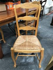 Sale 8822 - Lot 1529 - Set of 4 French Style Ladder Back Dining Chairs with Rush Seats
