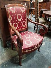 Sale 8848 - Lot 1028 - Louis Philippe Mahogany Armchair, with scrolled arms, upholstered in red & gold wreath fabric & cabriole legs