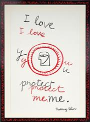 Sale 9021 - Lot 538 - Truong Tân (1963 - ) - i love you. protect me. 93 x 64 cm (hand-painted frame: 112 x 83 x 2 cm)