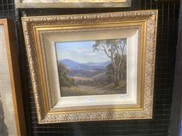 Sale 9101 - Lot 2028 - Erik Langker  Mountain Scene, oil on canvas, frame: 43 x 48 cm, signed lower right -