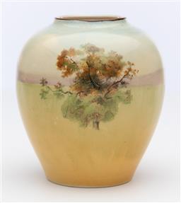 Sale 9245R - Lot 80 - An English Royal Doulton vase, Tudor cottage in a landscape, C: 1930s, Ht: 10.5cm