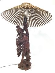 Sale 8579 - Lot 28 - A carved rosewood lamp with original shade with some splitting to timber base, H 68 x W 50cm at shade