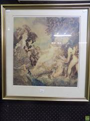 Sale 8561 - Lot 2068 - Norman Lindsay, Court of Venus, decorative print, 53 x 59cm (frame size), unsigned