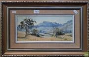 Sale 8600 - Lot 2003 - Gary Baker - Spring Creek Landscape oil on board, 14 x 29cm, signed lower left