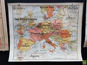 Sale 8625 - Lot 1080 - Vintage Cardboard Backed Double Faced Map of Europe (120 x 100cm)