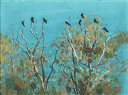 Sale 8755 - Lot 507 - Max Ragless (1901 - 1981) - Black Cockatoos in the Tree Tops 29.5 x 39.5cm
