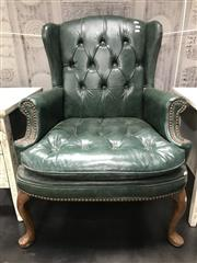 Sale 8822 - Lot 1220 - Green Wingback Armchair