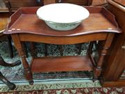 Sale 8831 - Lot 1024 - Late C19th Cedar Wash Stand with 2 Porcelain Basins