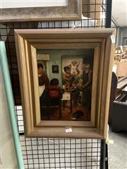Sale 8895 - Lot 2037 - Artist Unknown - Family Scene (Naive Style), oil on canvas (Winsor & Newton canvas), 41 x 33 cm unsigned