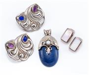 Sale 8926H - Lot 56 - A silver pendant and two pairs of clip earrings; oval pendant set with lapis and cultured pearl, length 5cm, earrings by Julia Booth...