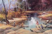 Sale 9001 - Lot 587 - Jean Sindelar (1941 - 2012) - The Yabbie Catchers 51 x 79 cm (frame: 71 x 99 x 3 cm)