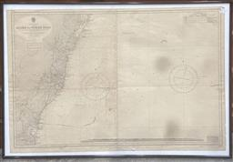 Sale 9106 - Lot 2077 - Map of Australian East Coast: Kiama to Norah Head, 1955 77 x 107cm (frame)