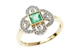 Sale 9160 - Lot 357 - AN EDWARDIAN INSPIRED EMERALD AND DIAMOND RING; centring a carre cut emerald to 9ct gold pierced foliate surround set with round bri...