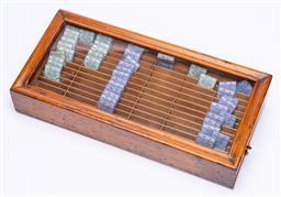 Sale 9190E - Lot 60 - Timber framed lift top needle divider/ case, Width 38.5cm