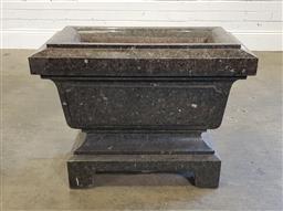 Sale 9196 - Lot 1090 - Granite Sarcophagus Form Jardiniere, with panelled sides, raised on bracket feet (h65 x w:80 x d:44cm)